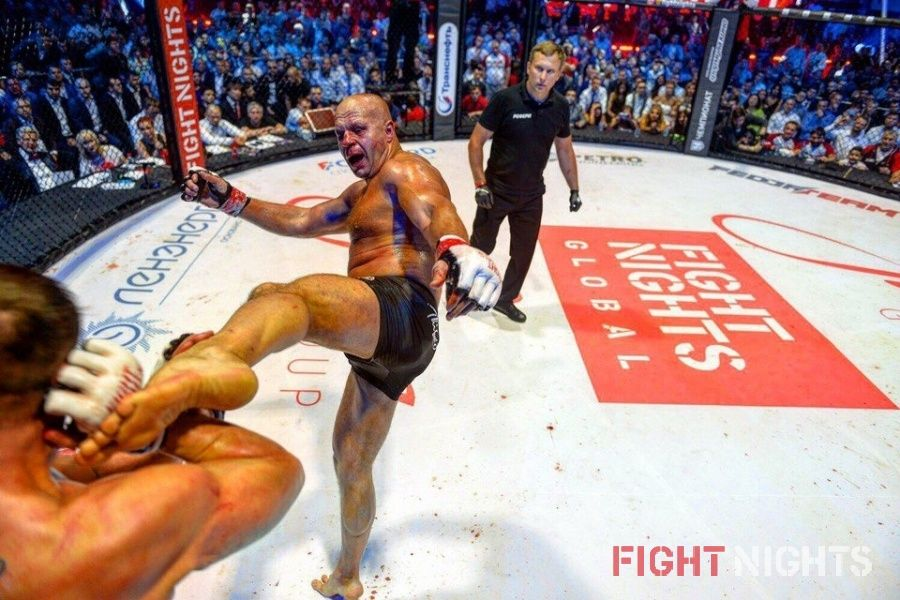 Фрагмент боя Федора Емельяненко и Фабио Мальдонадо на турнире FIGHT NIGHTS GLOBAL 50.