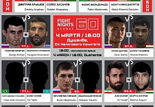 FIGHT NIGHTS GLOBAL 60. Файткард. 4 марта, Душанбе.
